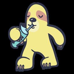 Pereza bebiendo batido de dibujos animados