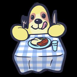 Preguiça comendo no desenho da mesa