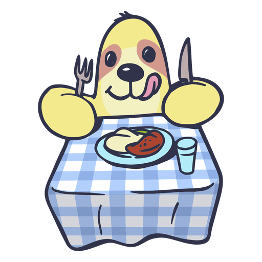 Sloth eating on table cartoon Transparent PNG