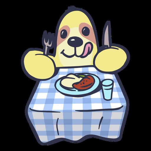 Sloth eating on table cartoon
