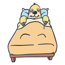 Sloth sleeping in bed cartoon