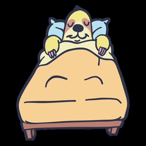 Pereza durmiendo en la cama de dibujos animados