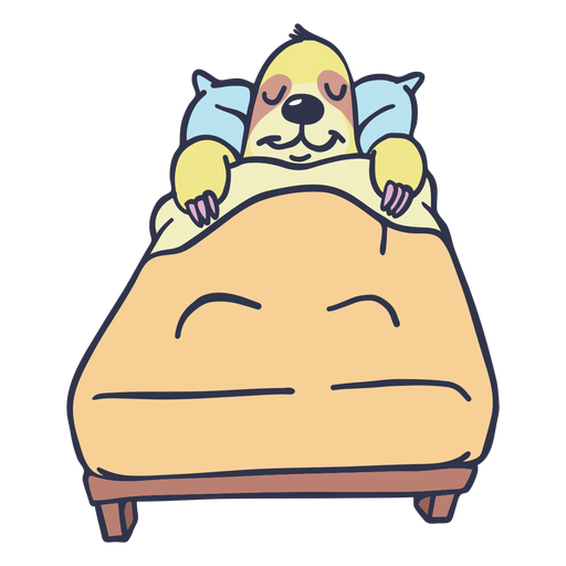 Sloth sleeping in bed cartoon