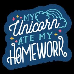 Einhorn aß Hausaufgabenbeschriftungsentwurf