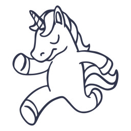 Unicorn running stroke cartoon