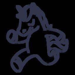 Unicornio corriendo dibujos animados de trazo