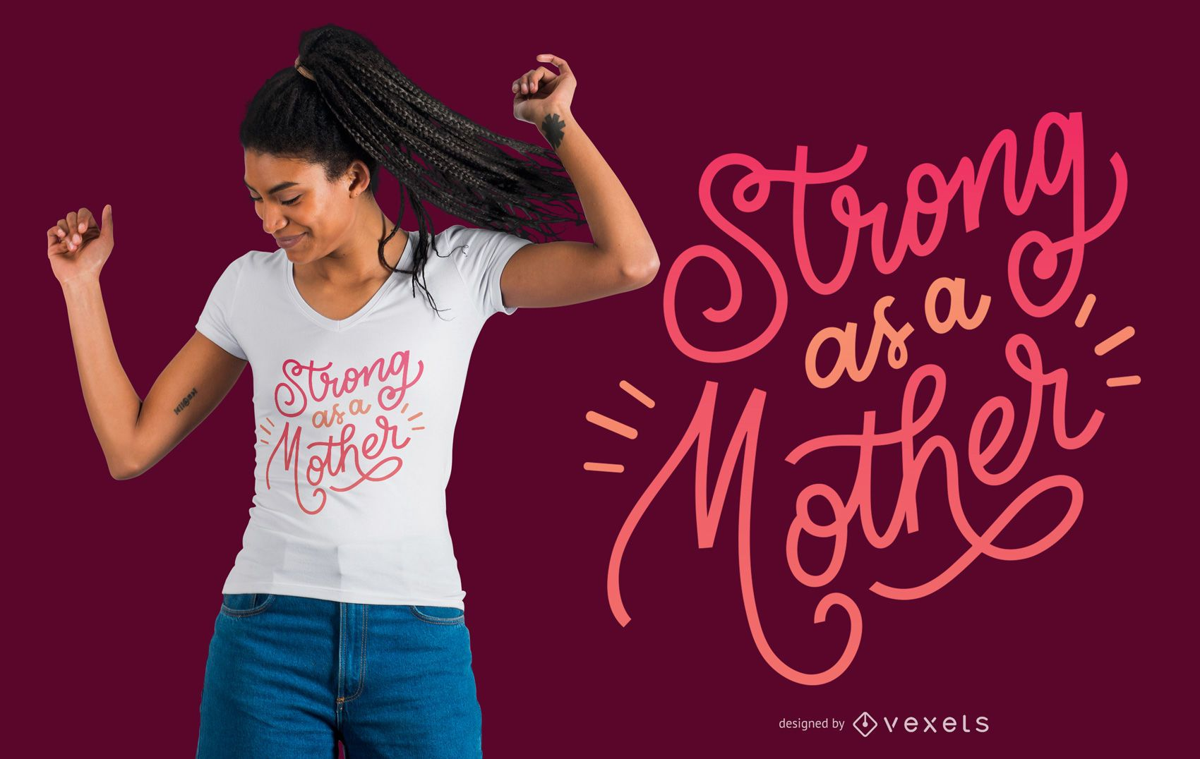 Strong Mother Lettering T-shirt Design