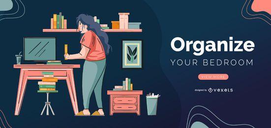 Organisieren Sie Ihre Schlafzimmer-Schieberegler-Vorlage