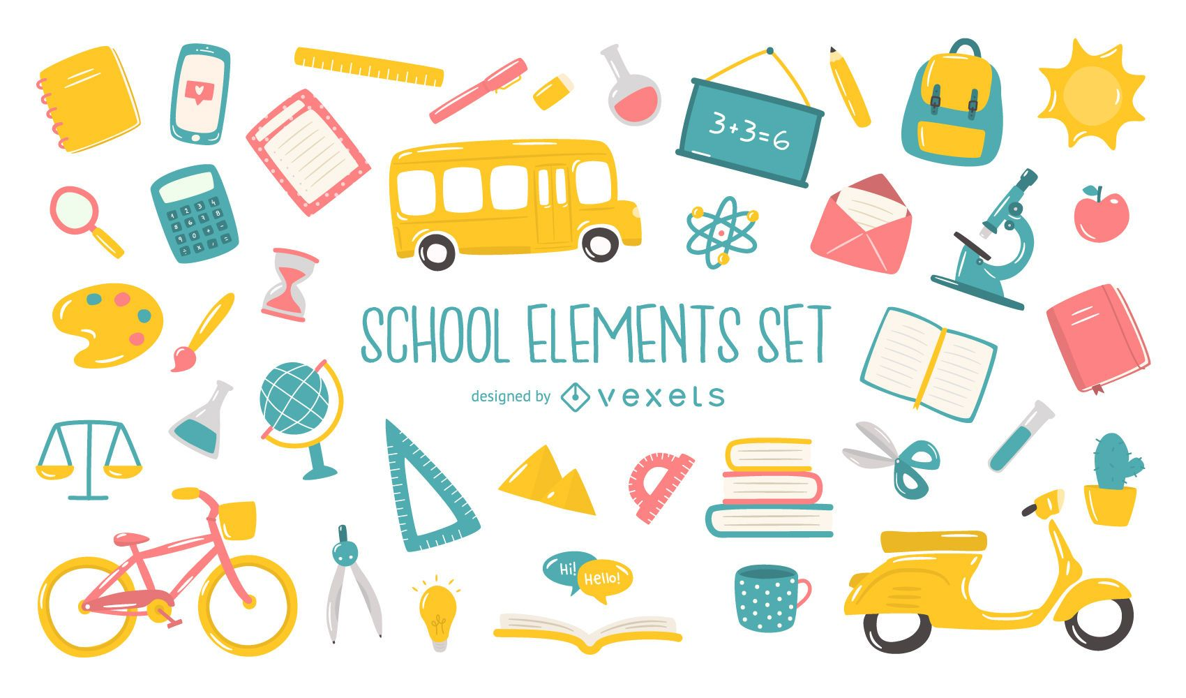 Colección plana de elementos escolares