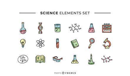 Conjunto de elementos de ciencia dibujados a mano