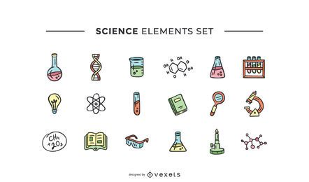 Science elements hand drawn set