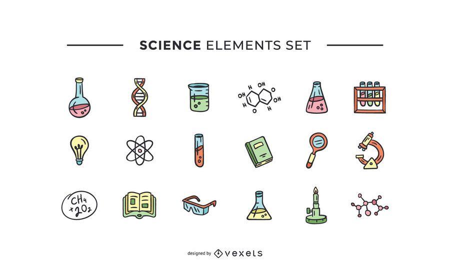 Science elements hand drawn set