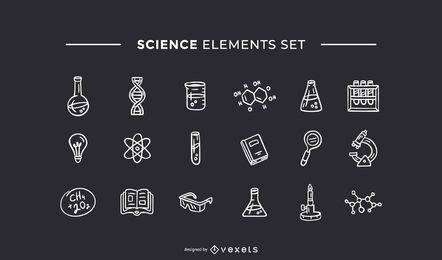 Elementos de ciência mão conjunto branco desenhado