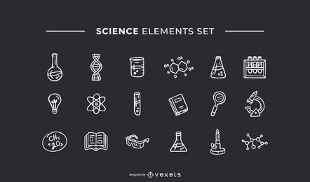 Science elements hand drawn white set