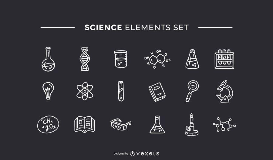 Elementos de ciencia dibujados a mano conjunto blanco