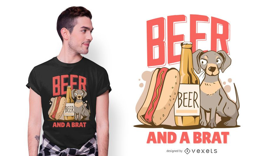 Beer Dog Text T-shirt Design
