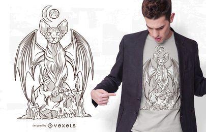 Design de camiseta com ilustração de gato malvado