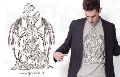 Diseño de camiseta Evil Cat Illustration