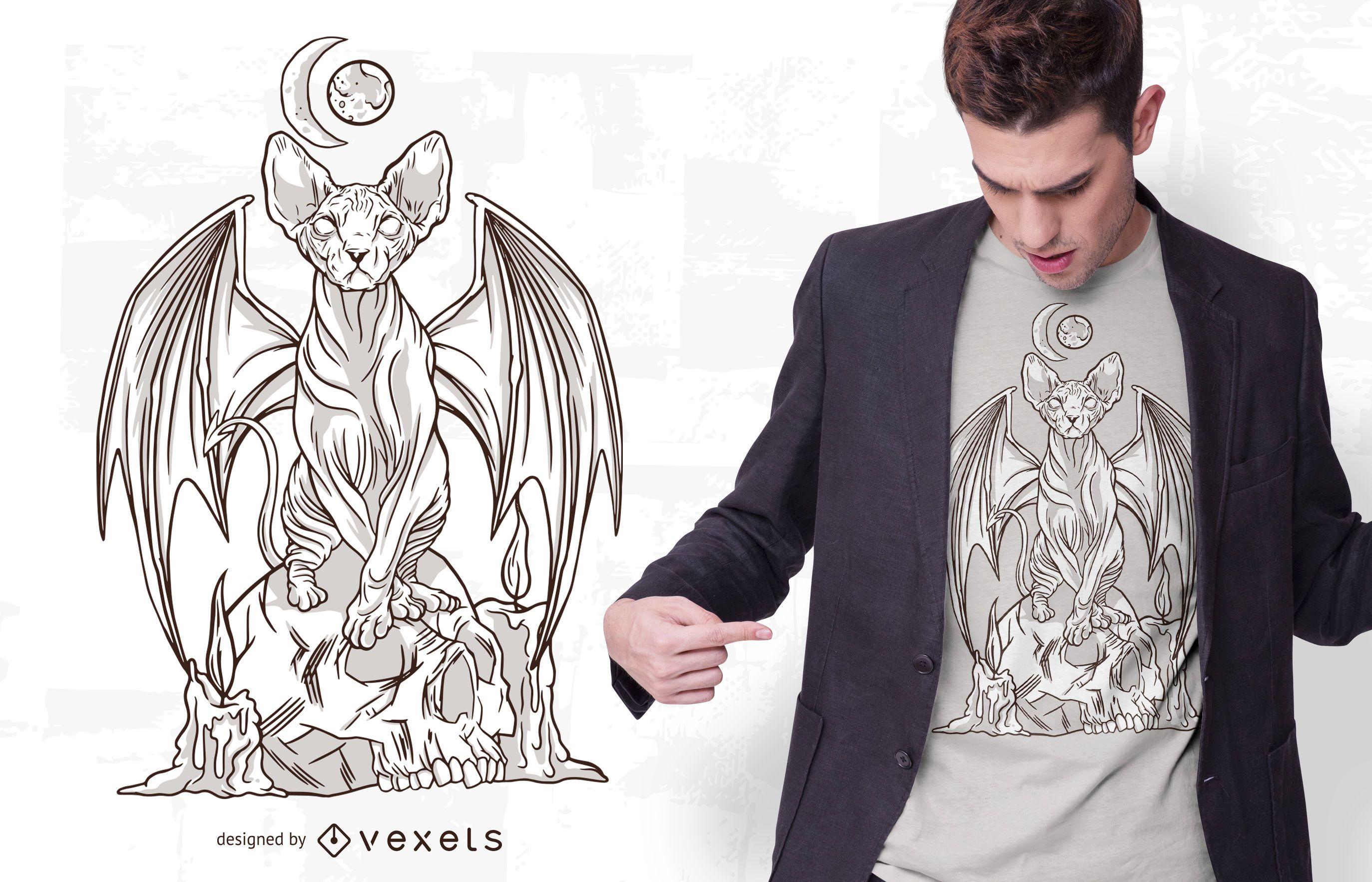 Diseño de camiseta Evil Cat Illustration