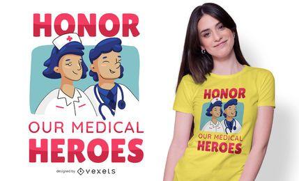 Diseño de camiseta de texto de médicos de honor
