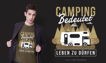 Camping Caravan German Text T-shirt Design