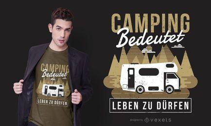 Design de t-shirt de texto alemão de caravana de acampamento