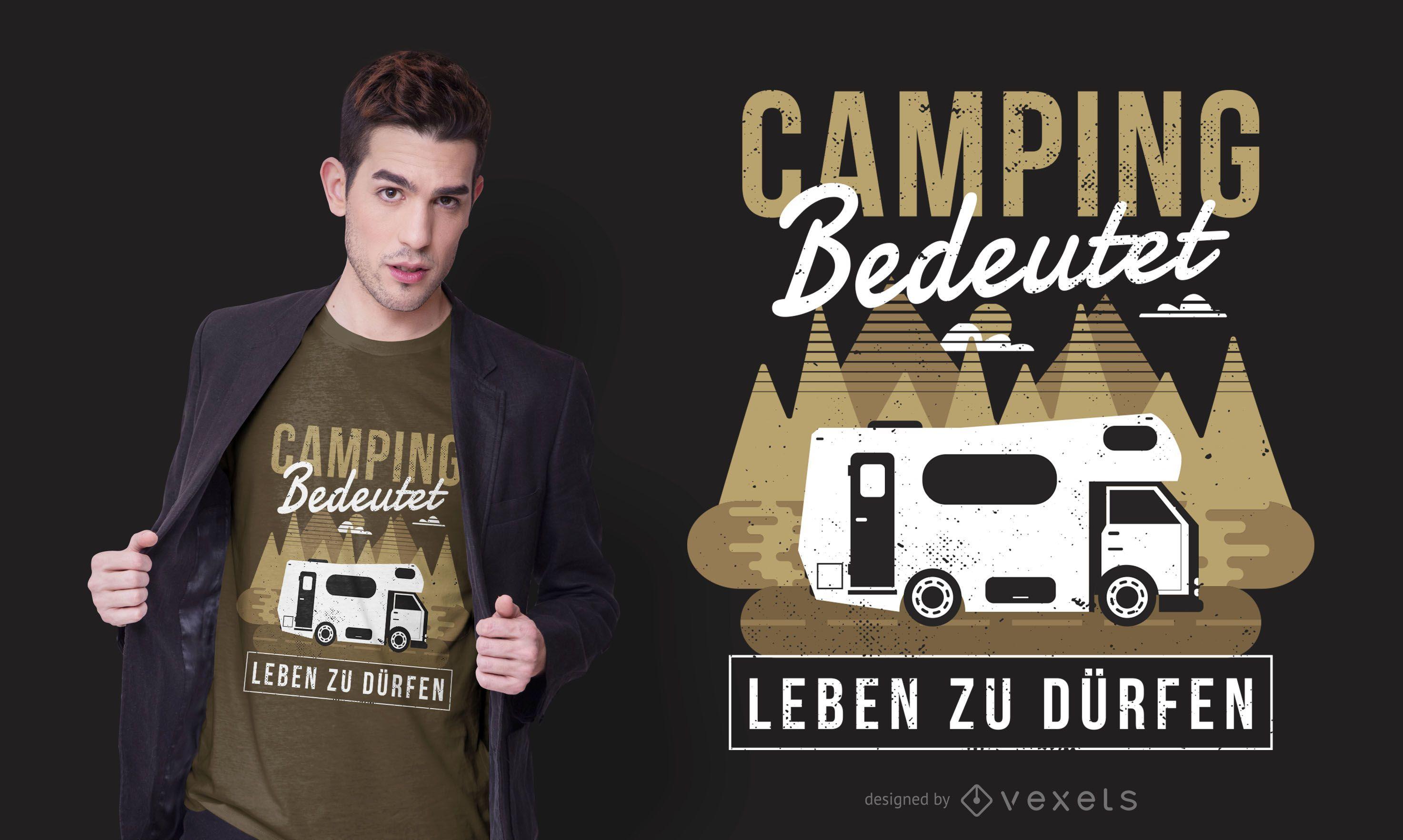 Diseño de camiseta de texto alemán Camping Caravan