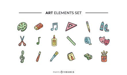 Conjunto de elementos de arte desenhados à mão