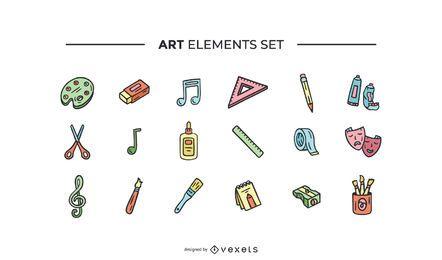 Conjunto de elementos de arte dibujado a mano