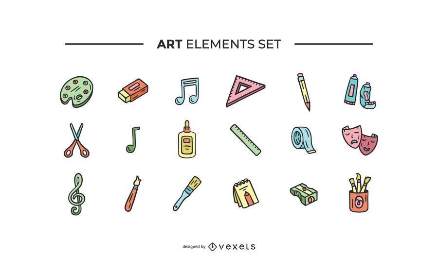Art elements hand drawn set