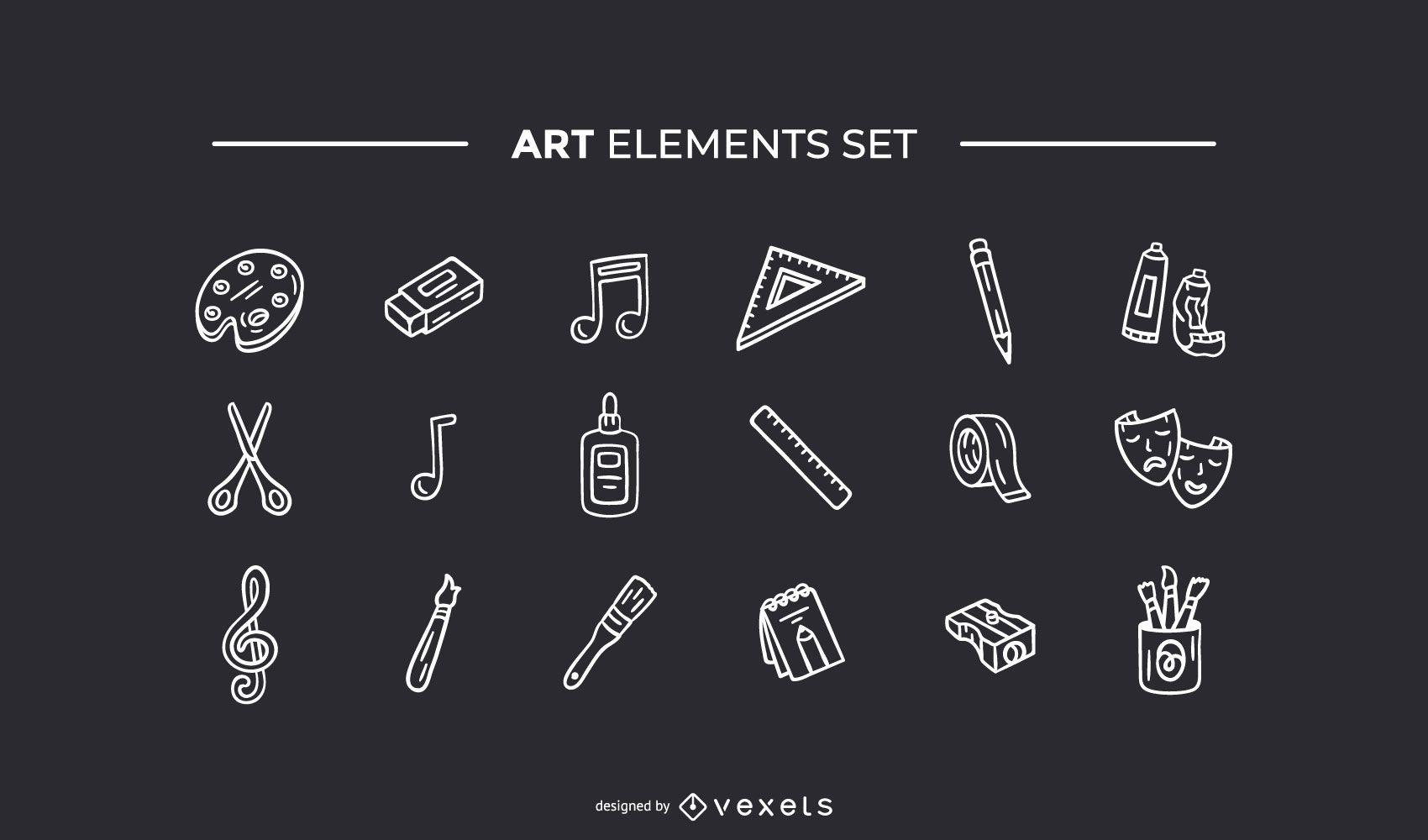 Elementos de arte dibujado a mano conjunto blanco