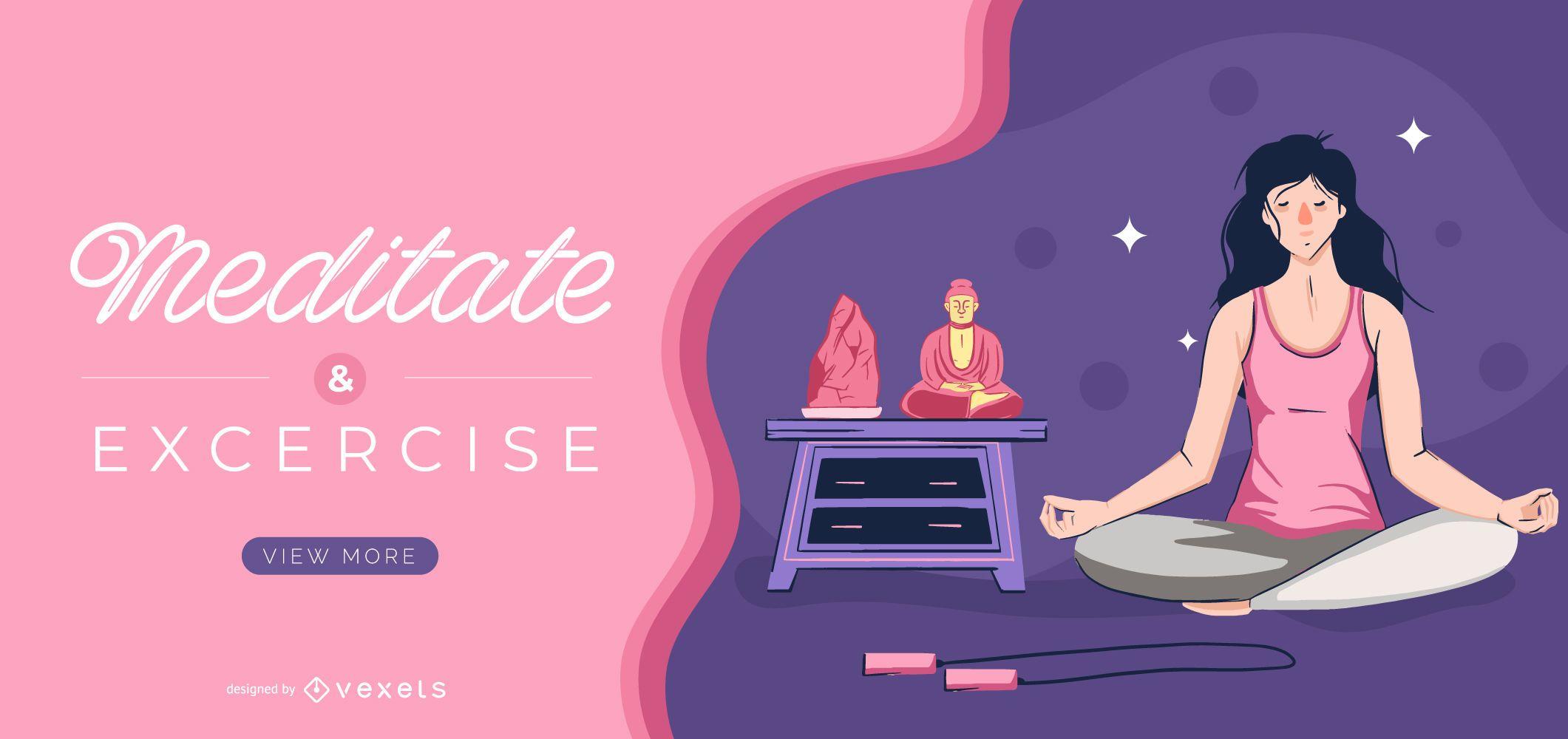 Plantilla de control deslizante de meditación y ejercicio