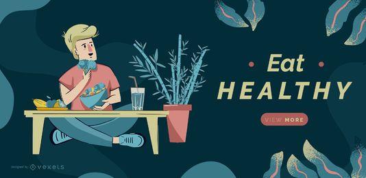 Comer plantilla de control deslizante saludable