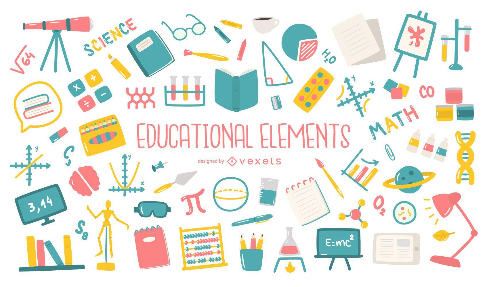 Colección plana de elementos educativos.