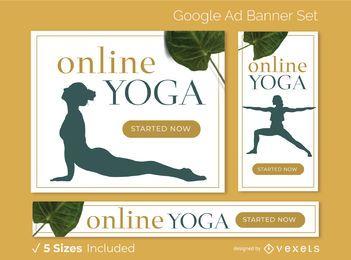 Conjunto de banner de anúncios on-line de ioga