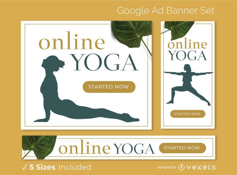 Conjunto de banners de anuncios de yoga en línea
