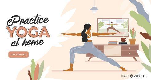 Modelo de slider de ioga em casa