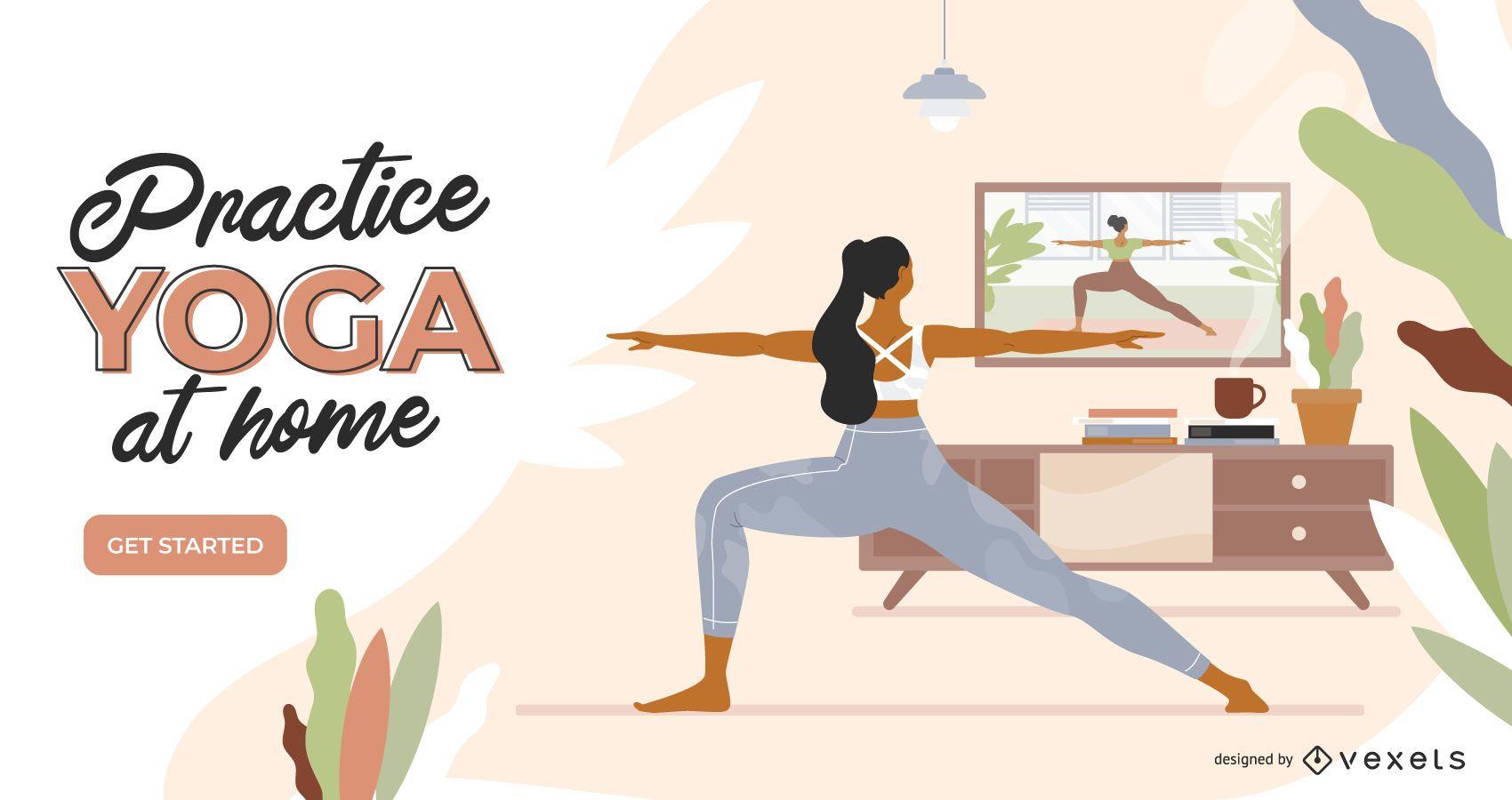 Plantilla de control deslizante de yoga en casa