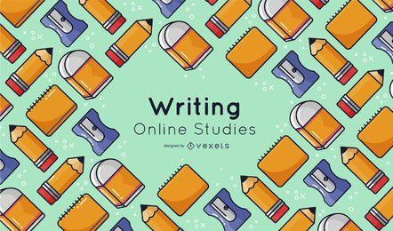 Elementos de escritura Diseño de portada de estudios en línea