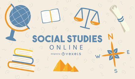 Diseño de portada en línea de estudios sociales