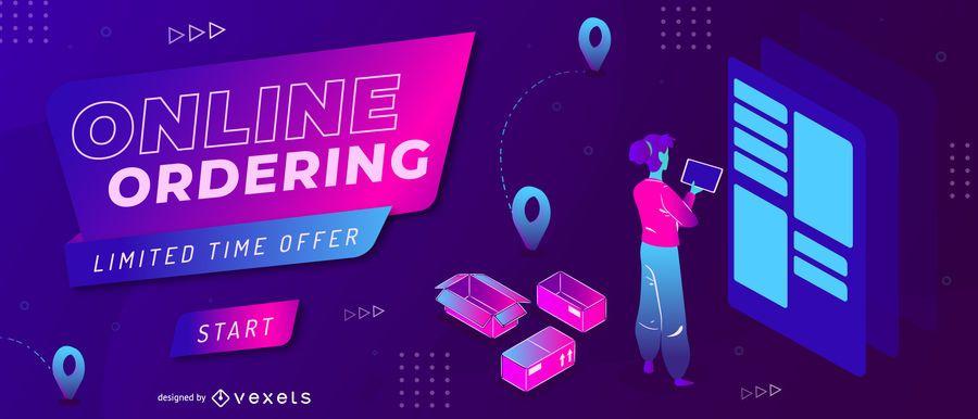 Online Shopping Neon Web Slider