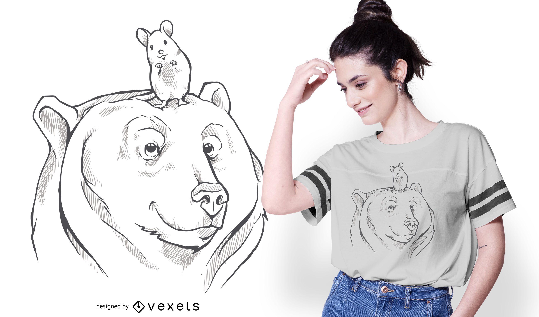 Diseño de camiseta de oso y ratón
