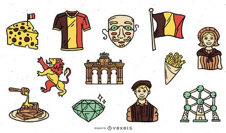 Hand drawn belgium elements