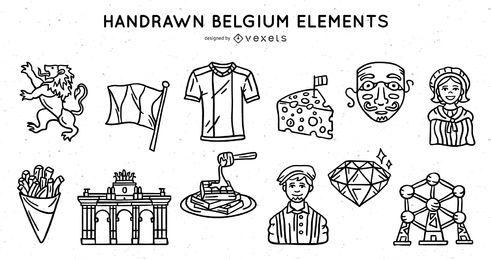 Conjunto de trazos de elementos de Bélgica