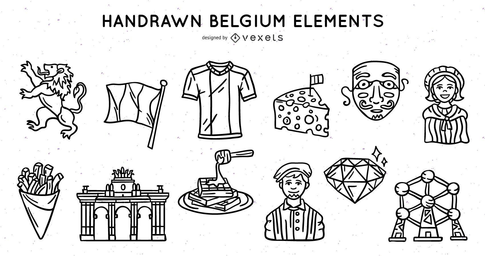 Belgium elements stroke set