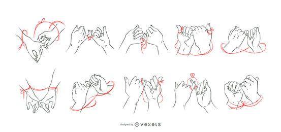 Melhores amigas mãos conjunto de fio vermelho