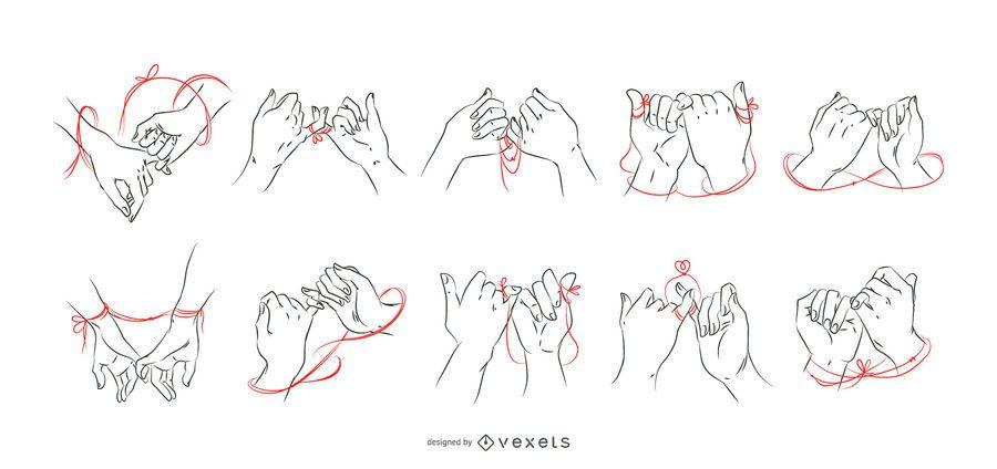 Best friends hands red thread set