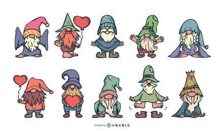 Conjunto de ilustração de gnomos bonitos