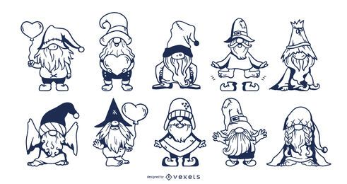 Cute gnomes stroke set