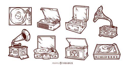 Conjunto de tocadiscos vintage